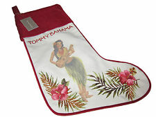 Tommy Bahama Hawaiian Tropical Linen Velvet Hula Girl Christmas Holiday Stocking
