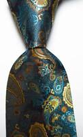 New Classic Paisley Lake Blue Gold JACQUARD WOVEN 100% Silk Men's Tie Necktie