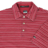 """Tiger Woods Men Small 35"""" Golf Polo Shirt Nike Maroon Stripe Cotton Collection"""