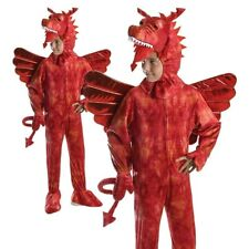 Child Red Dragon Costume Book Week Day Fancy Dress Outfit Kids Welsh New
