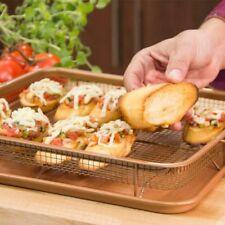Multi-Purpose Copper Crisper Oven Air Fryer Pan Non Stick Mesh Grill Crisp Tray