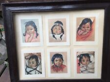 Christo Hersey 6 Framed Note Card Prints 1960s Eskimo Indigenous Native Child