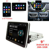 "9"" Rotatable Touch Screen 1Din Android 10.1 Car Stereo Radio WiFi GPS Navigation"