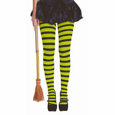 Green & Black Stripes Tights Pantyhose Costume Accessory Adult Costume