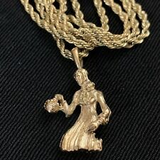 Pendant Charm Necklace Gold Plated Nice Vtg Victorian Lady With Flower Basket
