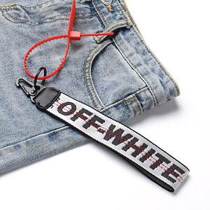 OFF WHITE Inspired Keychain Lanyard Industrial Badge ID Belt Wrist Strap SILVER