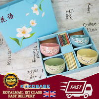 UK Complete Full Chinese Dining Set 4 colours bowls with chopsticks Gift Boxed