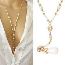 Fashion Pearl Moonstone Long Pendant Necklace Sweater Necklace Jewelry Gift