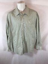 Men's Christian Dior Green&White Striped Button Down Dress Shirt Sz 17