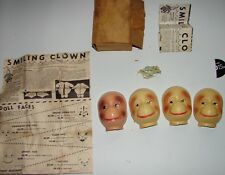 "Antique Doll Monkey Faces lot w original  box and sales sheet  3"" tall"