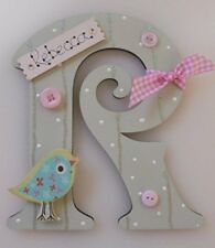 Bird Personalised *ANY LETTER & NAME* kids Room Door Sign Plaque sage