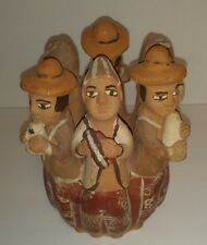 Clay Pottery Peru Folk Art Party Announcers Handmade Flute Whistle Family Circle