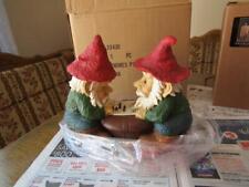 "2 Ceramic Gnomes Playing Checker 10 x 5 & 9"" Tall New W/ Box"