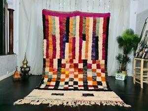 "Boujad Moroccan Handmade Vintage Rug 5'5""x8'5"" Berber Patchwork Orange Black Rug"
