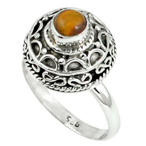 Natural Brown Tiger's Eye 925 Sterling Silver Ring Jewelry Size 8 D8087