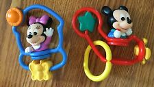 2 Vintage Disney Baby Mickey Minnie Mouse Baby Toys Rattles