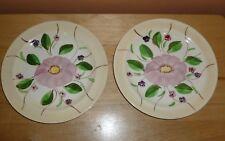 "2 Blue Ridge Southern Potteries 7"" lunch / dessert plates  ~  Pink Flowers"