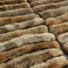 Genuine Fur Collar Women Thick Large Racoon Fur Scarf For Coat With Button-Hole