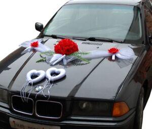 Hochzeit Dekoration Brautauto Autoschmuck Hochzeitsauto Autogirlande G8 Rot