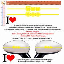 adesivi sticker fiat I LOVE 500 YELLOW Wing Mirror pvc prespaziato GIALLO 4 pz.