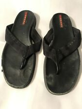 Prada Black Leather Canvas Casual Slip On Flip Flop Sandals Size 8