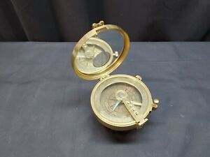 "Vintage Ross London Brass 4"" COMPASS On Mounting Stand"