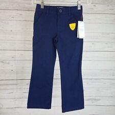 Cat & Jack Girls Bootcut Twill Uniform Pants Sz 4 Navy Blue Adjustable Waist