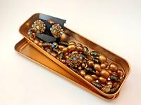 Vendome ~ Vintage Double Stranded Necklace & Clip Earrings Set ~ 1944-1979