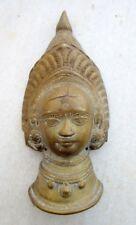 Antique Old Hand Carved Brass Hindu Goddess Kali Durga Ambey Face Figure Statue