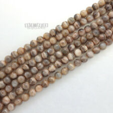"""15.5"""" Natural Peach Gray Moonstone Round Beads ap. 8mm w/Silver Flash #19465"""