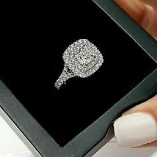 2.50Ct Cushion-Cut Forever Diamond Engagement Ring 14k Double Halo White Gold Fn