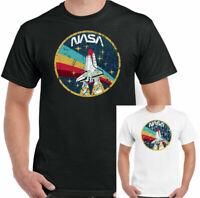 NASA T-Shirt Mens Distressed Logo Space Agency Shuttle Retro Geek Tee Top