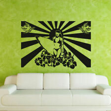 Wall Decal Surf Surfing Girl Poster Sun Lotus Flower Bird Love Recreation M263