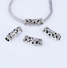 10pcs Tibetan Silver Bending Pierced Big Hole  Spacer Beads Jewelry Findings