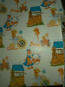 Rare Vintage HOLLIE HOBBIE Wrapping Paper  x 2 Sheets - STUNNING ARTWORK * new*