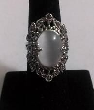 Unique Large White Gold Antique Style Crystal and Opal Ring Size 6.75 #R424