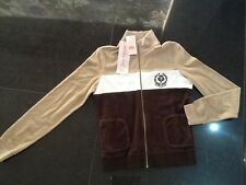 NWT Juicy Couture New Genuin Ladies Size Medium Brown Cotton Tennis Logo Jacket