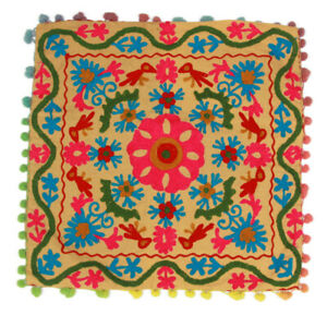 Vintage Embroidered Mexican Bird Flower Design Pillowcase Pom Pom Trim 15x15