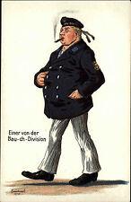 """Feldpost Kaiserliche Marine Briefstempel 1917 Soldaten-Humor AK """"Bau-ch-Division"""