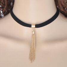 Black Leather Choker Bib Statement Chunky Chain Collar Necklace Fashion Jewelry