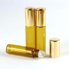 5Pcs 5ml(0.62*2.7inch)Roll On Glass Amber Bottle Essential Oil Glass Roller Ball