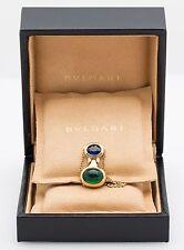 Bvlgari Sapphire and Emerald Pendant in 18K Yellow Gold