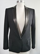 NEW BALMAIN $4,055 black tuxedo style jacket blazer leather lapel women's 38