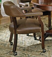 Steve Silver Tournament Captains Chair with Casters in Brown Finish, TU500A New