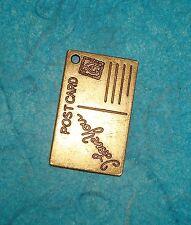Pendant Post Card Charm Vacation Charm Bronze Travel Charm Steampunk Charm