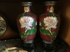 Old aged Chinese brown golden Cloisonne Enamel Vase (one pair)