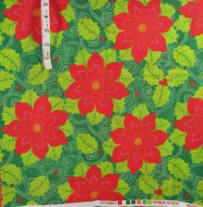 2 yds Vintage Lg Red Poinsettia Holiday Print,Green Mistletoe Cotton Fabric