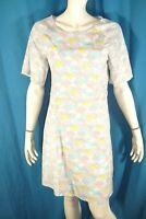 PARAMITA Taille L - 40 Superbe robe manches courtes gris bleu rose jaune pastels