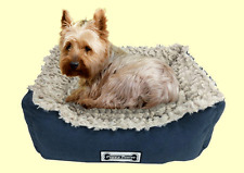 Padded Cat and Dog Bed, Pet Basket, Faux Suede, Faux Sheepskin Lining - Navy