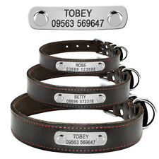 Personalised Genuine Leather Dog Collars Name ID Collar Tags Free Engraved S M L